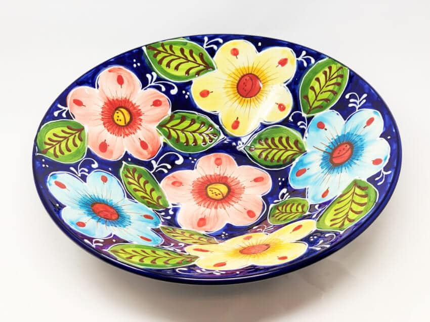 Verano Ceramics Classic Spanish Large 38cm Conical Bowl Pink Flower 12