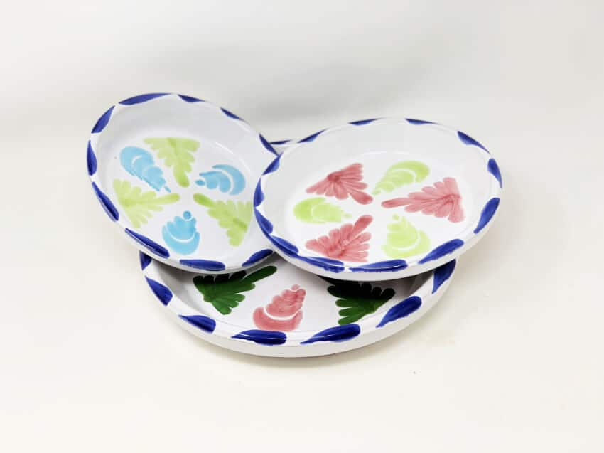 Verano-Ceramics-Pots-and-Planters-Traditional-Spanish-Floral-Flower-Pot-Drainage-Plates-Group-Stacked-1