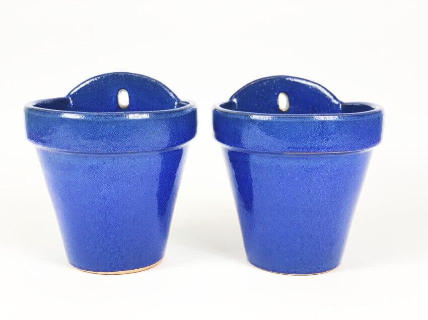 Verano-Ceramics-Selena-Classic-Hanging-Pot-SPHPM20and23cm-Blue-Set-of-2