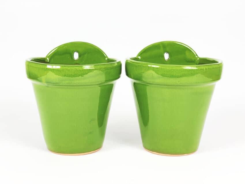 Verano-Ceramics-Selena-Classic-Hanging-Pot-SPHPM20and23cm-Green-Set-of-2