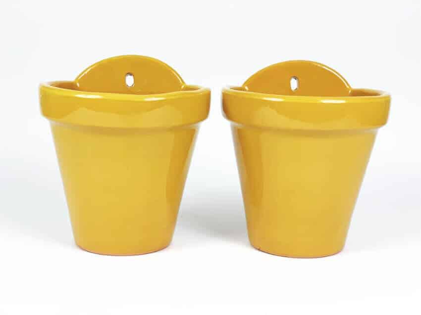 Verano-Ceramics-Selena-Classic-Hanging-Pot-SPHPM20and23cm-Mustard-Set-of-2