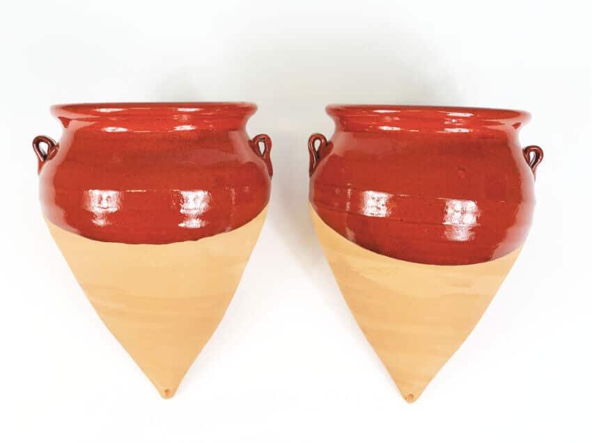 Verano-Ceramics-Selena-Half-Dipped-Teardrop-Pot-Red-SPTDM22H-Set-of-2
