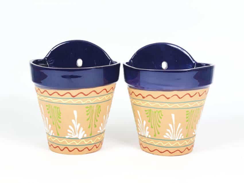 Verano-Ceramics-Set-of-2-Bule-rimmed-Inca-hanging-pots-TSHPI-14-19-21-