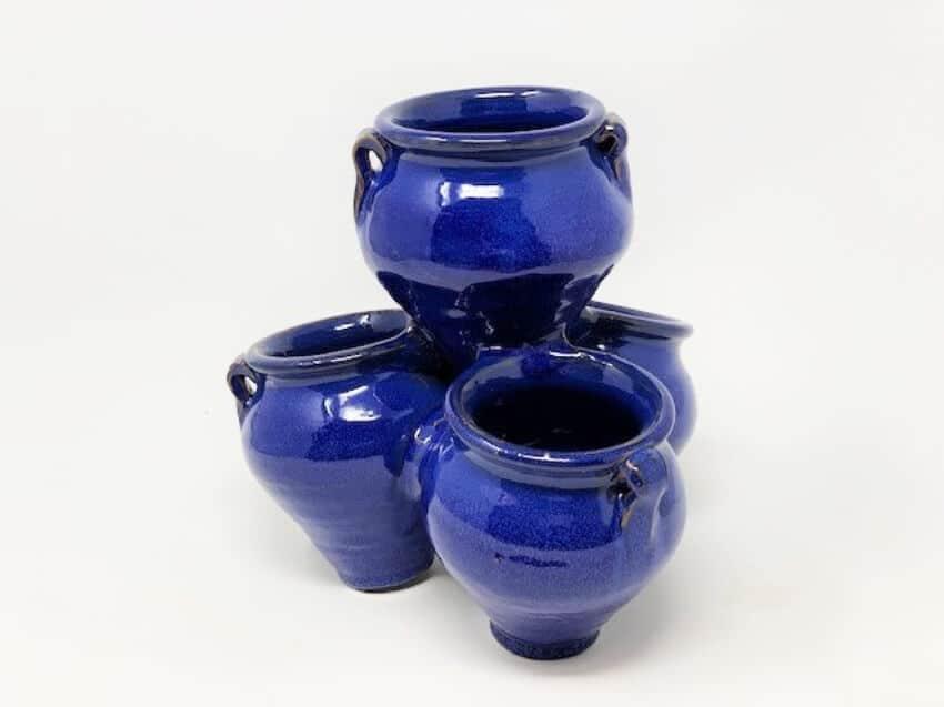 Verano-Ceramics-Spanish-Selena-Glaze-Garden-Quad-Pots-Blue-7