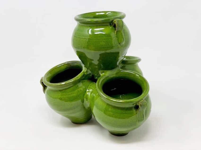 Verano-Ceramics-Spanish-Selena-Glaze-Garden-Quad-Pots-Green-6