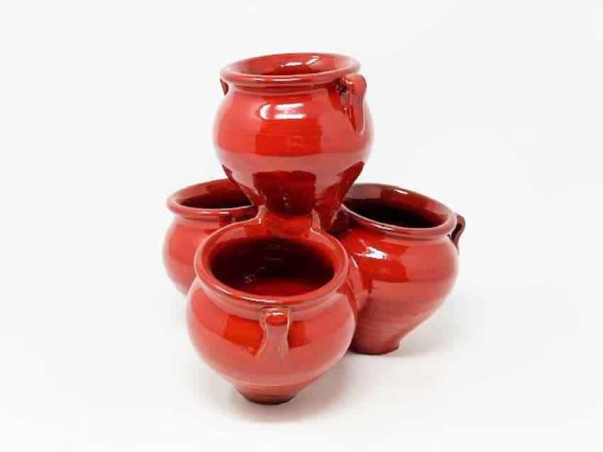 Verano-Ceramics-Spanish-Selena-Glaze-Garden-Quad-Pots-Red-1