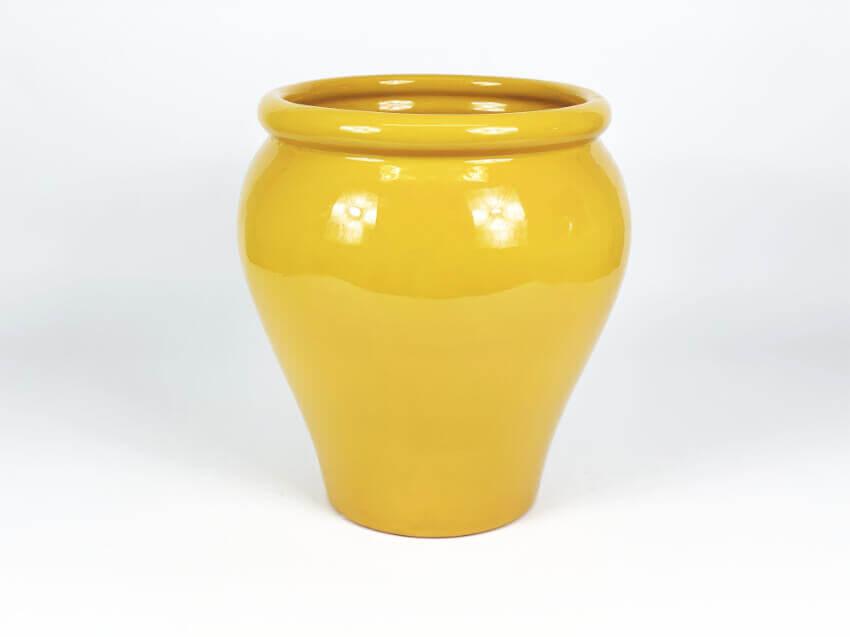 Verano-Ceramics-Spanish-Selena-Glaze-SP-GVM24and30-Selena-Mustard-Garden-Vase-4