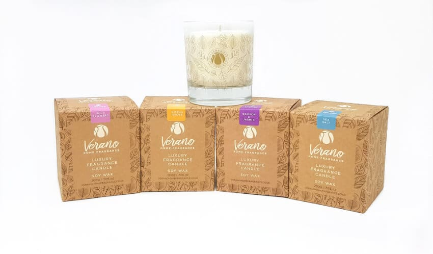 """Verano Home Fragrance - Screen Printed Glass Candle In A """"Kraft"""" Recycled Gift Box"""