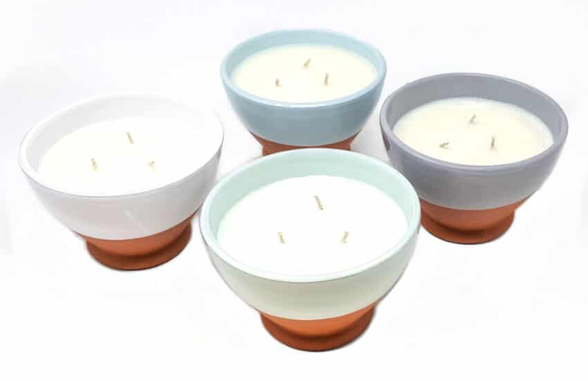 Rustic Pastel Round Footed Reusable Bowl Soy Wax Candles