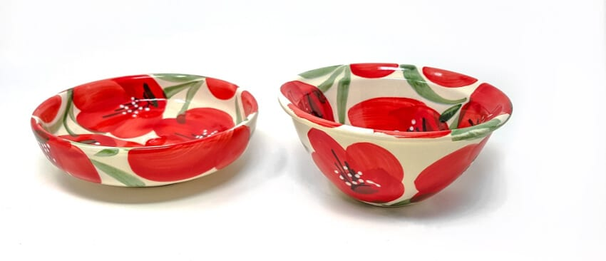 Castilian Poppies - Sets Of 2 Small Bowls