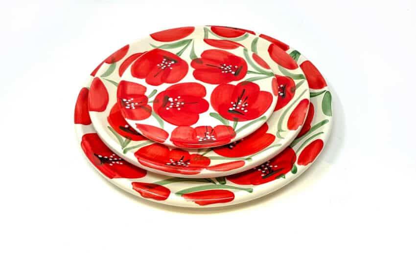 Verano-Spanish-Ceramics-Castilian-Poppies-Plates-Group-Stacked-1