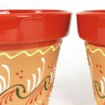 Verano-Spanish-Ceramics-Outdoor-Living-Inca-Bola-Classic-Pots-Set-Of-2-Red-Detail-1