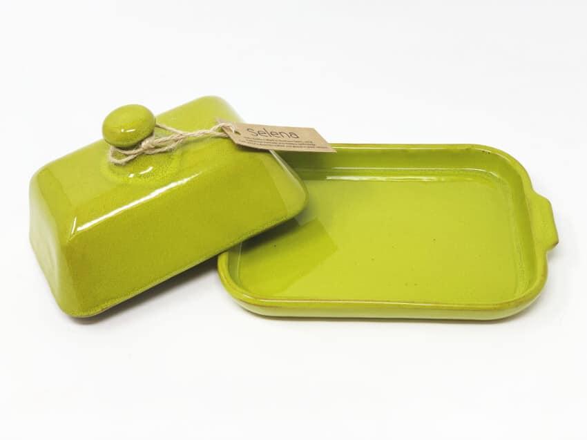 Verano-Spanish-Ceramics-Selena-Butter-Dish-Lime-Green-Lid-Off-3