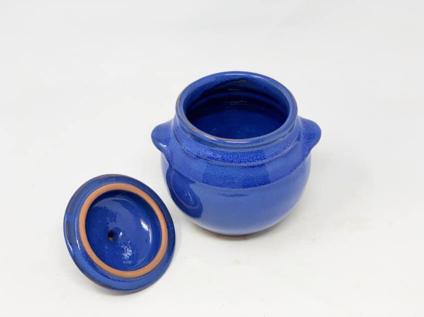 Verano-Spanish-Ceramics-Selena-Storage-Jars-Blue-Lid-Off-1