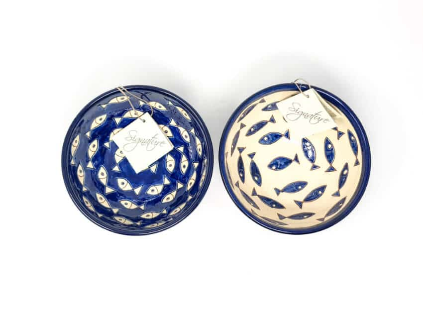 Verano-Spanish-Ceramics-Signature-Blue-And-White-Fish-Sets-Of-2-Appetiser-Bowls-Mix-1