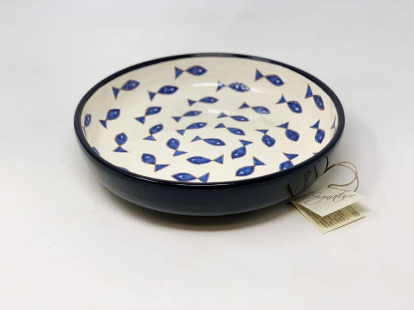 Verano-Spanish-Ceramics-Signature-Blue-and-White-Fish-Large-Bowl-4