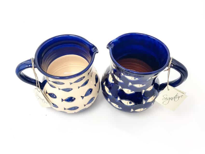 Verano-Spanish-Ceramics-Signature-Blue-and-White-Fish-Large-Jug-2