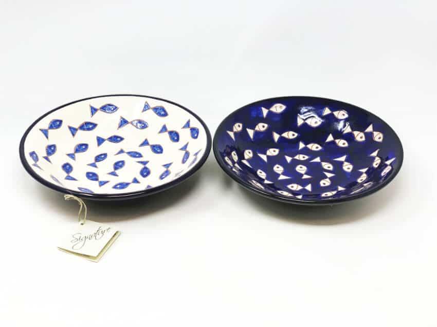 Verano-Spanish-Ceramics-Signature-Blue-and-White-Fish-Pasta-Bowls-6