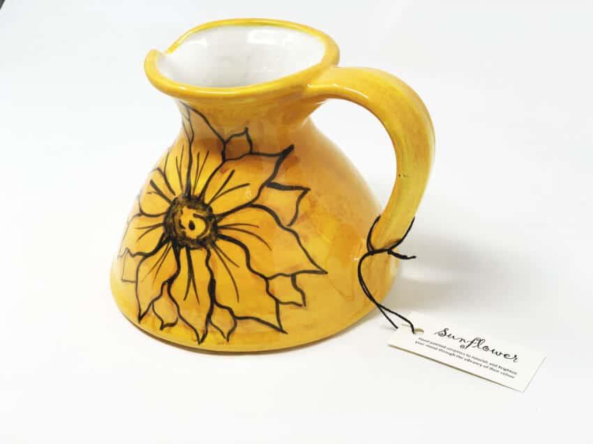 Verano-Spanish-Ceramics-Sunflower-Flat-Jug-1