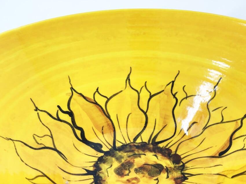 Verano-Spanish-Ceramics-Sunflower-Large-Conical-Bowl-1