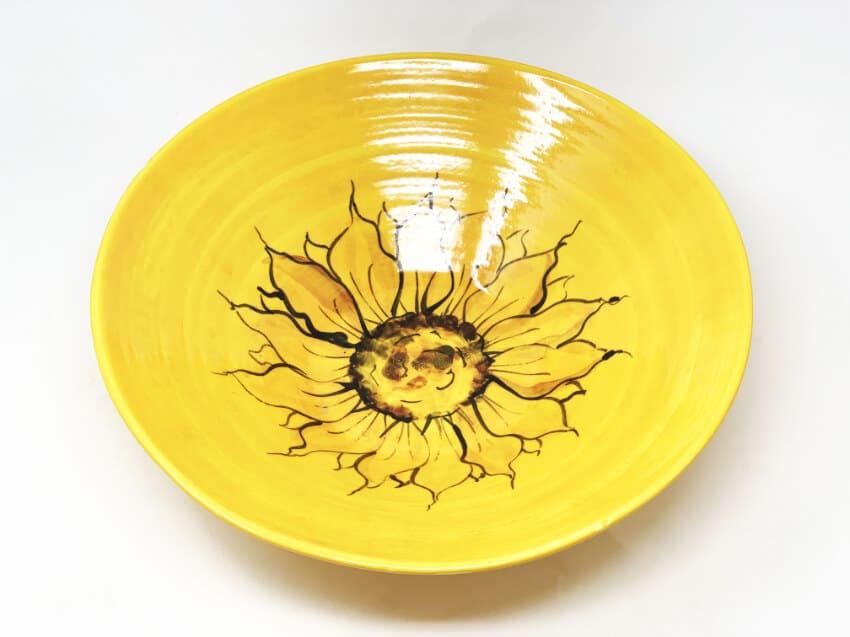 Verano-Spanish-Ceramics-Sunflower-Large-Conical-Bowl-4