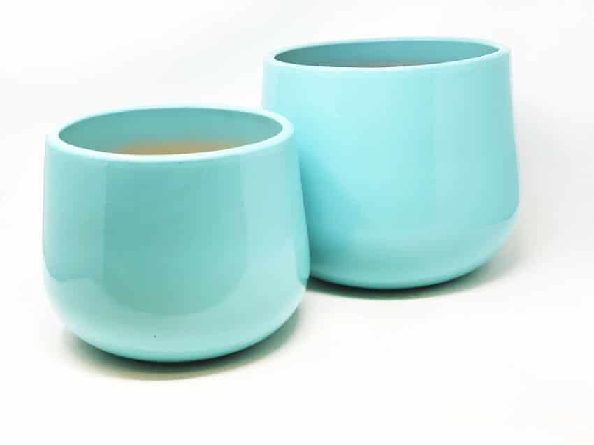 Verano Ceramics Indoor Plant Pots Cylinder Aqua Blue Set of 2 1