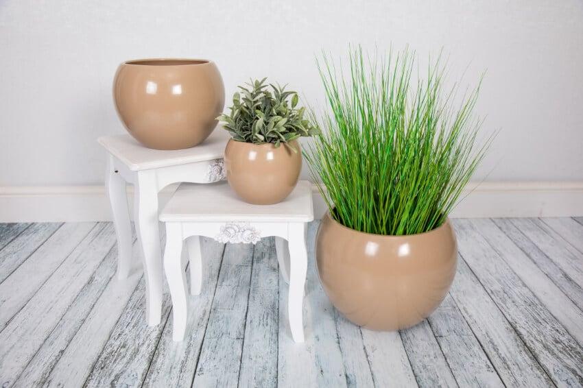 Indoor Textured Round Plant Pots  - Semi Gloss Beige