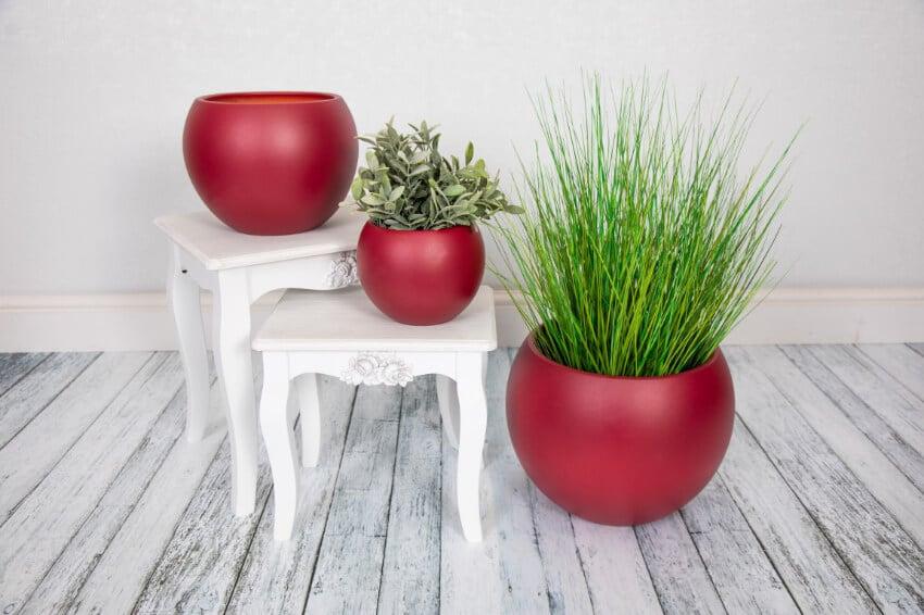 Indoor Textured Round Plant Pots  - Maroon