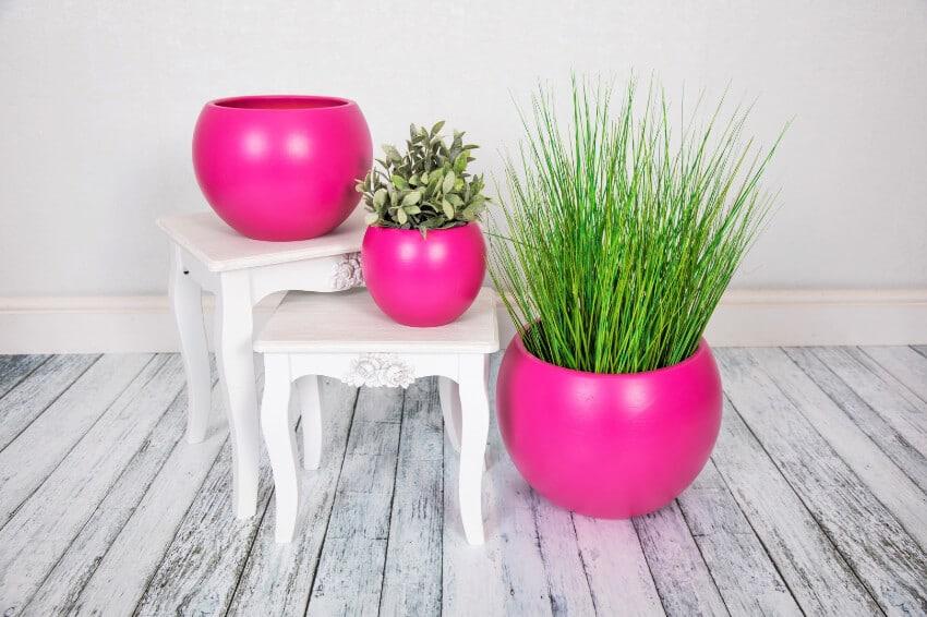 Indoor Textured Round Plant Pots  - Pink