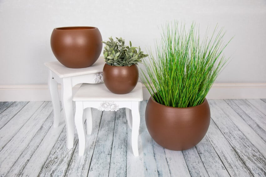 Indoor Textured Round Plant Pots - Rust