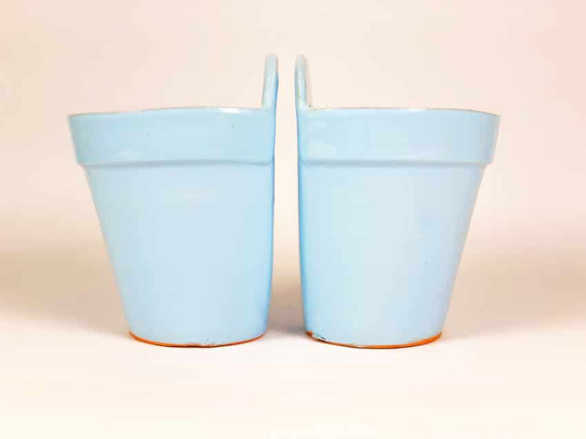 Sets Of 2 Pastel Hand Dipped Terracotta Hanging Pots