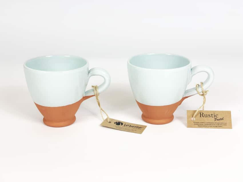 Verano Ceramics Rustic Pastel Everyday Cups Set of 2 Duck Egg Blue