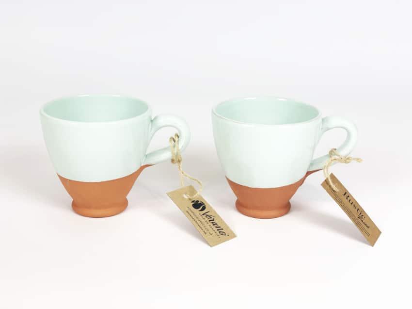Verano Ceramics Rustic Pastel Everyday Cups Set of 2 Green
