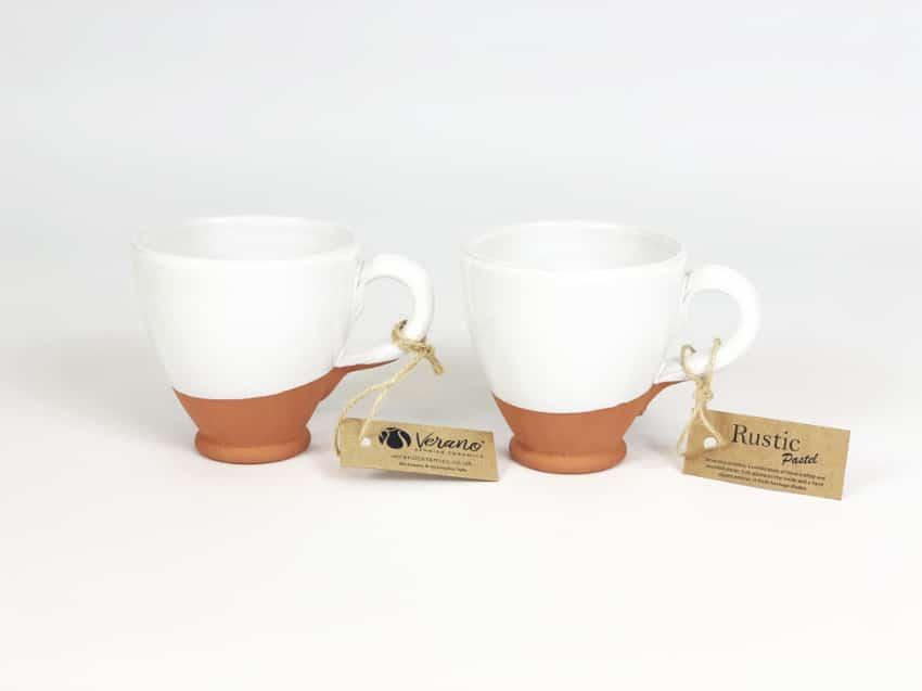 Verano Ceramics Rustic Pastel Everyday Cups Set of 2 White