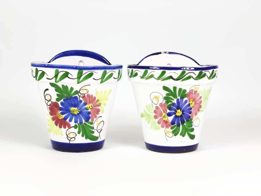 Sets Of 2 Hand Painted Floral Classic Hanging Pots