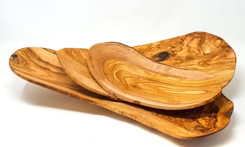 Olive Wood - Handmade Curved Floating Fruit Basket(S)