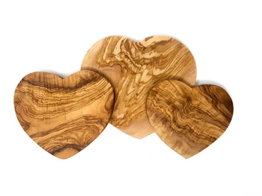 Olive Wood - Handmade Heart Shaped Boards