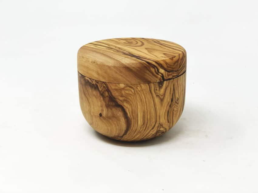 Olive Wood - Salt/Sugar Pot With Sliding Magnetic Lid