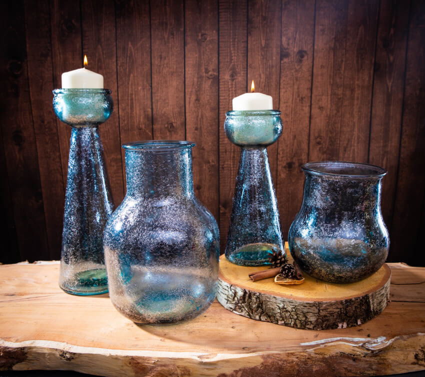 Verano Recycled Glassware Frost Collection Frost Blue