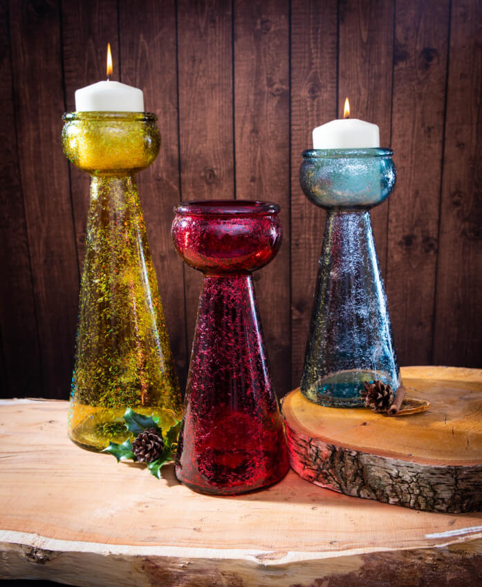 Verano Recycled Glassware Frost Collection Frost Candles