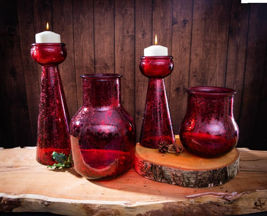 Verano Recycled Glassware Frost Collection Frost Red