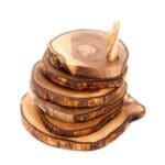 Olive Wood - Handmade 6 Rustic Coasters