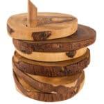 Verano-Spanish-Ceramics-Olive-Wood-Rustic-Coasters-stack-2