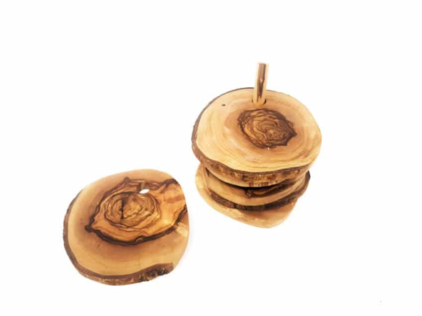 Verano-Spanish-Ceramics-Olive-Wood-Rustic-Coasters-stack-4