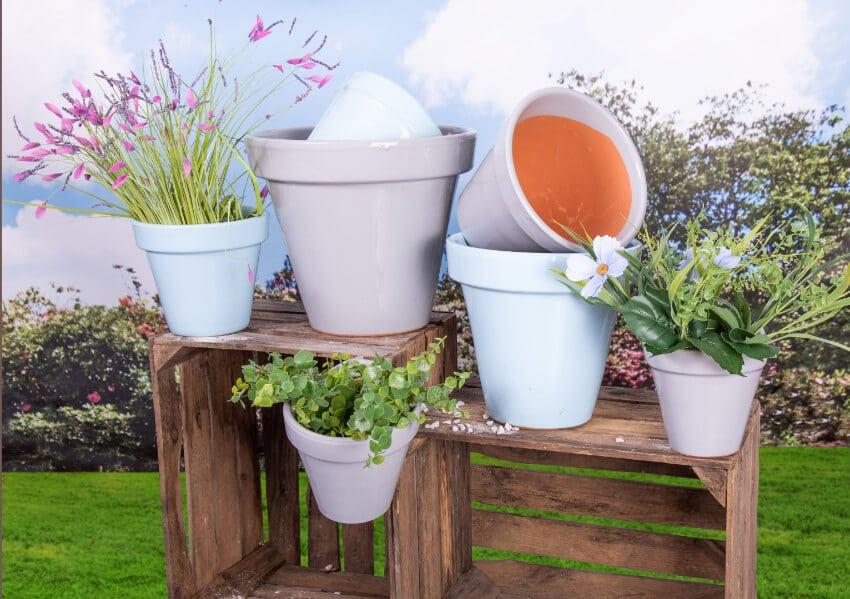 Verano Spanish Ceramics Outdoor Plant Pots Pastel Group 1