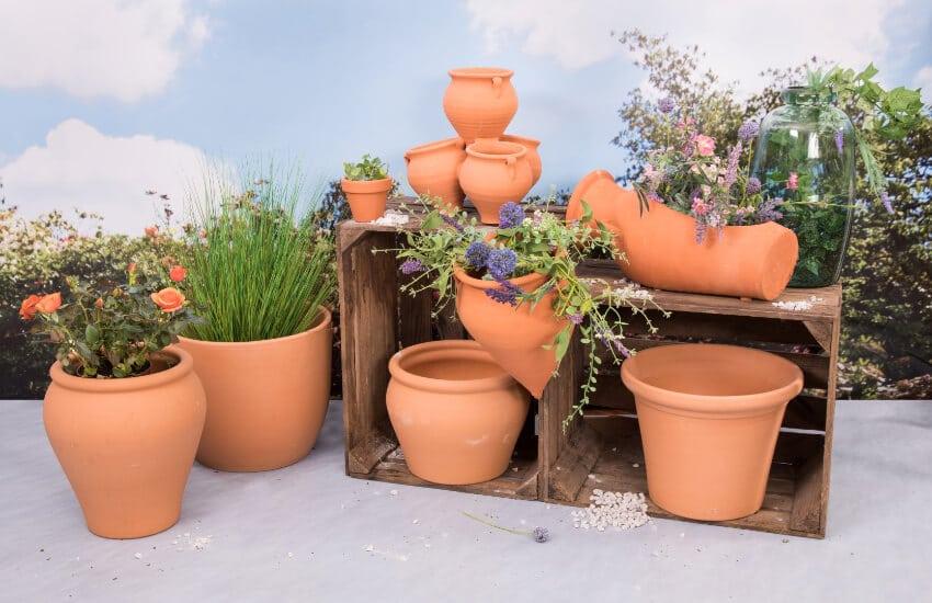 Verano-Spanish-Ceramics-Plain-Terracotta-Outdoor-Garden-Pots-Group-1