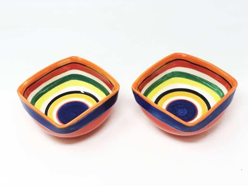 Rayas - Set Of 2 Artisanal Square Bowls 14Cm