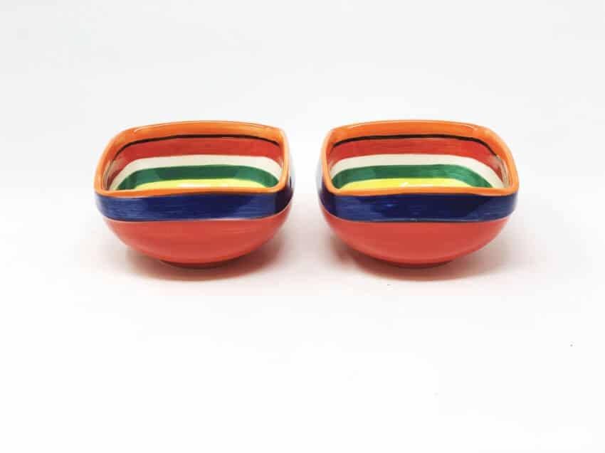 Verano-Spanish-Ceramics-Rayas-Set-of-2-Artisanal-Square-Bowls-14Cm-2