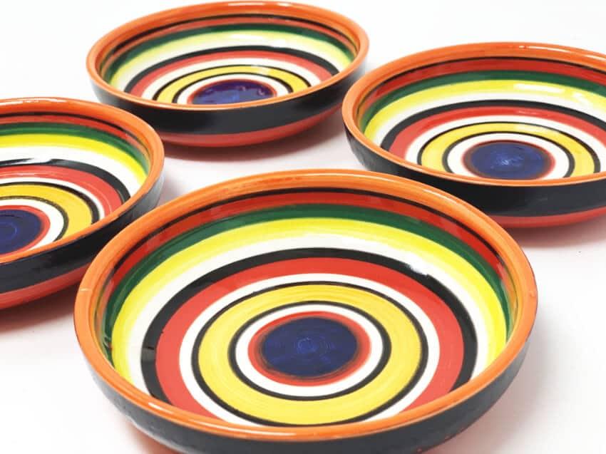 Verano-Spanish-Ceramics-Rayas-Shallow-Set-Of-4-Tapas-Bowls-12cm-3