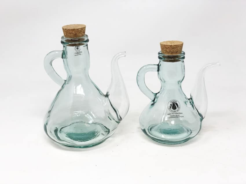 Verano Recycled Glass - Set Of 2 Cruet Oil Drizzlers With Cork Lids